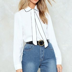 NWT Nasty Gal School Piped Blouse Size Small